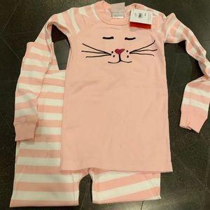 Hanna Andersson pink cat kitty pajamas 6/7 120
